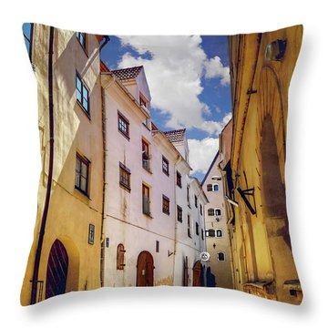 Throw Pillow featuring the photograph The Sunny Streets Of Old Riga  by Carol Japp