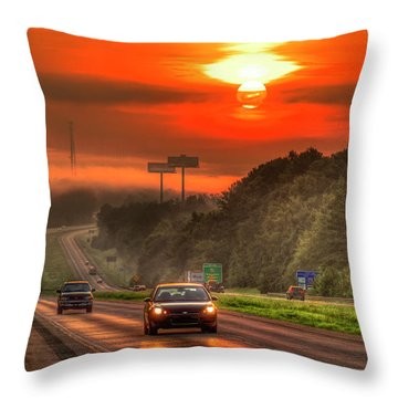 The Sunrise Commute Georgia Interstate 20 Art Throw Pillow