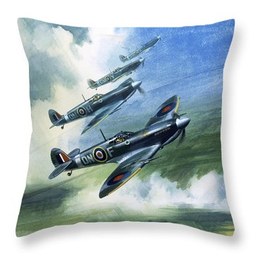 The Supermarine Spitfire Mark Ix Throw Pillow by Wilfred Hardy