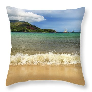 The Surf At Hanalei Bay Throw Pillow