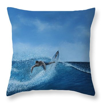 The Surfer Throw Pillow by Paul Newcastle