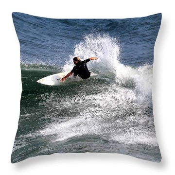 The Surfer Throw Pillow by Tom Prendergast