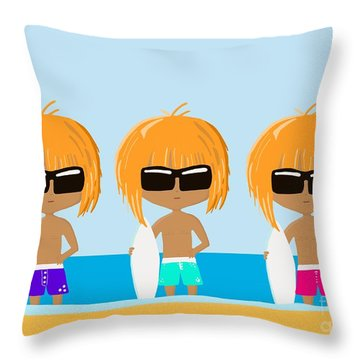 The Surfing Triplets Throw Pillow