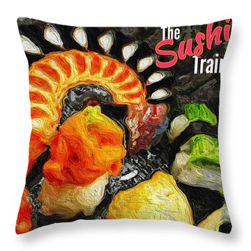 The Sushi Train Throw Pillow