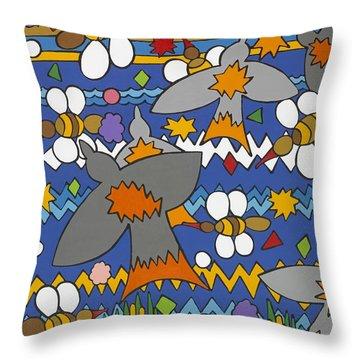 The Swallows Throw Pillow by Rojax Art
