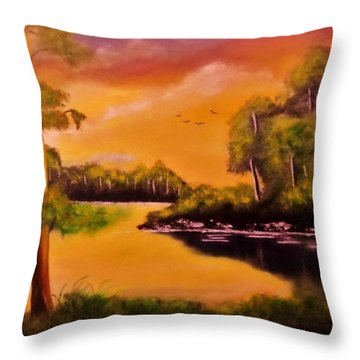 The Swamp Throw Pillow by Manuel Sanchez