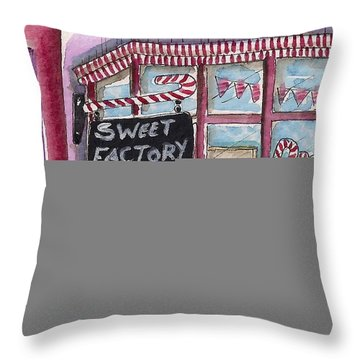The Sweet Factory Throw Pillow by Lucia Stewart