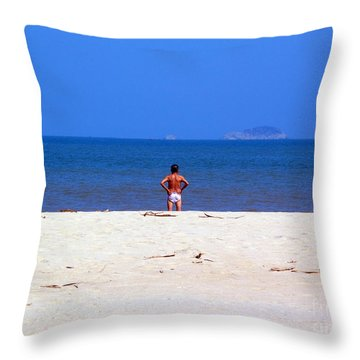 Throw Pillow featuring the photograph The Swimmer by Ethna Gillespie