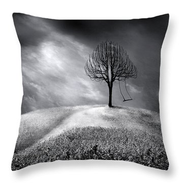 The Swing That Swings Alone Throw Pillow by Gray  Artus
