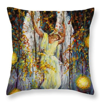 The Swinging Angel Throw Pillow
