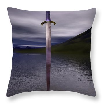 The Sword Excalibur On The Lake Throw Pillow by Nicholas Burningham