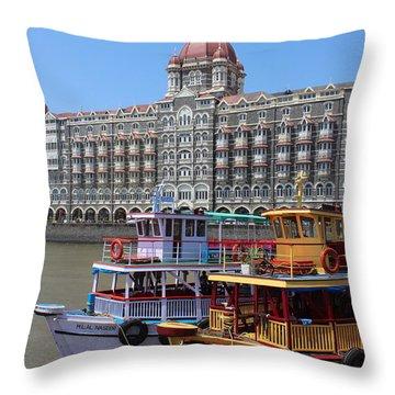 The Taj Palace Hotel And Boats, Mumbai Throw Pillow by Jennifer Mazzucco