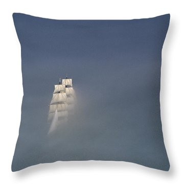 The Tall Ship Uscg Eagle Sails In A Sea Throw Pillow by James P. Blair