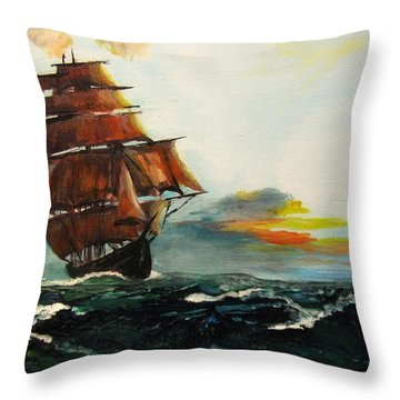 The Tall Ships Throw Pillow