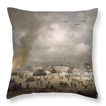 The Tanks Go In - Sword Beach  Throw Pillow by Richard Willis