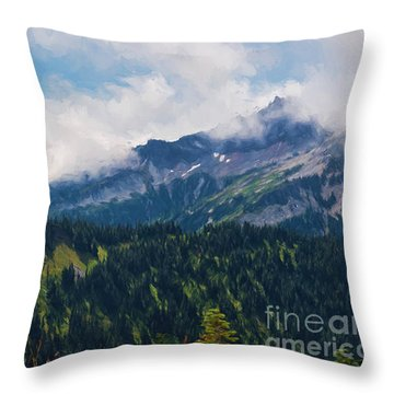 The Tatoosh Painted Throw Pillow