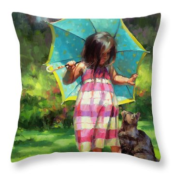 The Teal Umbrella Throw Pillow