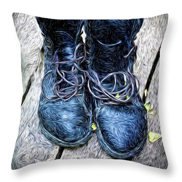 Throw Pillow featuring the photograph The Teaser Cat Boots by Craig J Satterlee