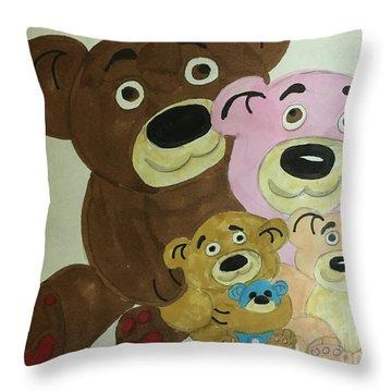 The Teddy Family  Throw Pillow