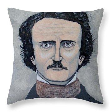 Throw Pillow featuring the painting The Telltale Heart Of Edgar Allen Poe. by Ken Zabel