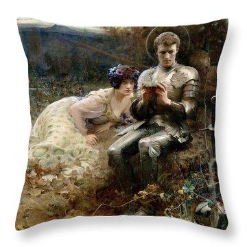The Temptation Of Sir Percival Throw Pillow by Arthur Hacker