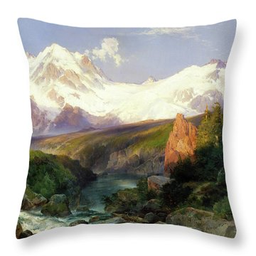 Throw Pillow featuring the painting The Teton Range Painting By Thomas Moran                               by Thomas Moran
