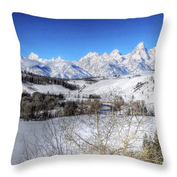 The Tetons From Gros Ventre Valley Throw Pillow