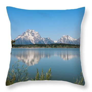 The Tetons On Jackson Lake - Grand Teton National Park Wyoming Throw Pillow