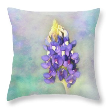 Throw Pillow featuring the photograph The Texas State Flower The Bluebonnet by David and Carol Kelly