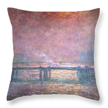 The Thames At Charing Cross Throw Pillow by Claude Monet