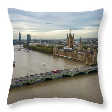 The Thames At Sunset Throw Pillow