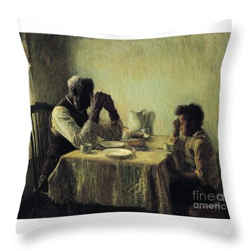 Throw Pillow featuring the painting The Thankful Poor by Henry Ossawa Tanner