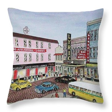 The Theater District Portsmouth Ohio 1948 Throw Pillow by Frank Hunter