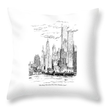 The Thing I Like About New York Throw Pillow