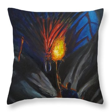 The Thing In The Cave Throw Pillow