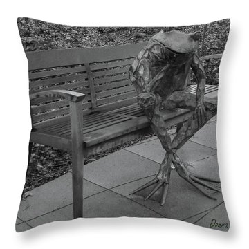 Throw Pillow featuring the photograph The Thinking Frog by Donna Brown
