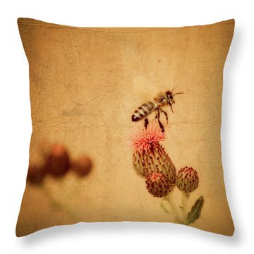 The Thistle And The Bee Throw Pillow