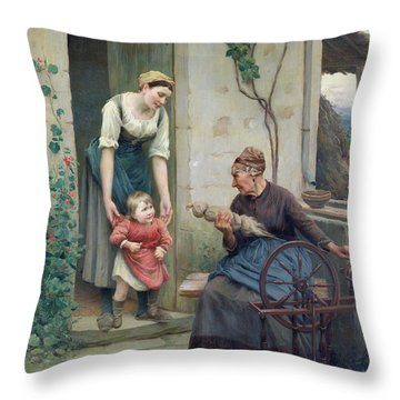 The Three Ages Throw Pillow by Jules Scalbert