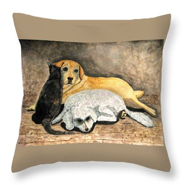 Throw Pillow featuring the painting The Three Amigos by Angela Davies