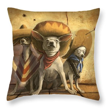 The Three Banditos Throw Pillow