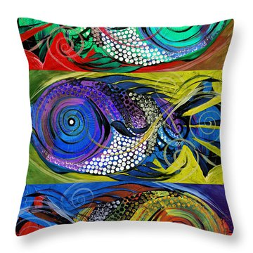 The Three Fishes Throw Pillow