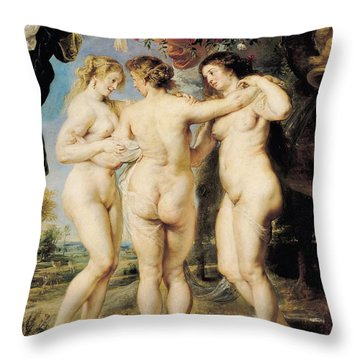 The Three Graces Throw Pillow by Peter Paul Rubens