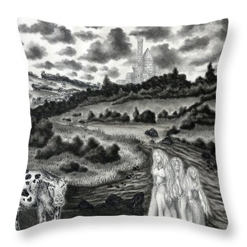 The Three Ladies  Throw Pillow