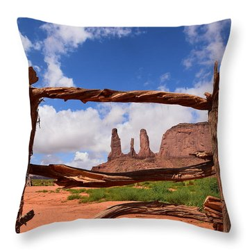 Throw Pillow featuring the photograph The Three Sisters Framed - Arizona by Dany Lison