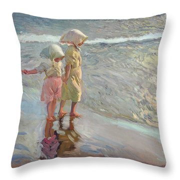 The Three Sisters On The Beach Throw Pillow