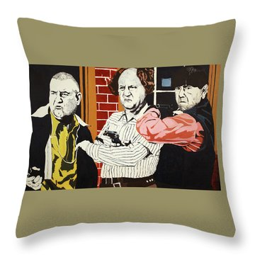 The Three Stooges Throw Pillow by Thomas Blood