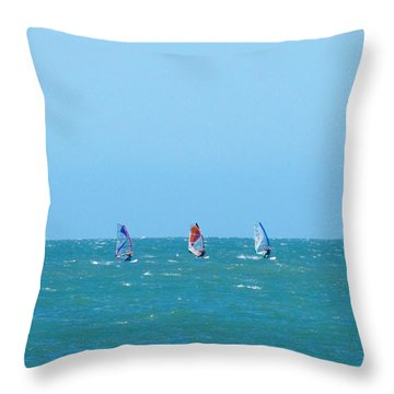 The Three Surfers Throw Pillow