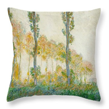 The Three Trees Throw Pillow by Claude Monet