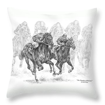 The Thunder Of Hooves - Horse Racing Print Throw Pillow by Kelli Swan