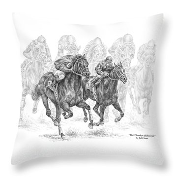 The Thunder Of Hooves - Horse Racing Print Throw Pillow